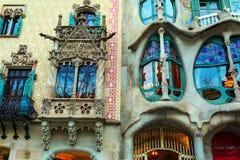 Casa Batlló and Casa Amatller in Barcelona, Spain. Details of Houses Casa Batlló and Casa Amatller closup. Barcelona, Spain Stock Images