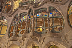 Casa Batllo, Barcelona. Nightly detail of one of Gaudis most famous buildings at Passeig de Gracia, Barcelona, build for Josep Batllo Royalty Free Stock Photos