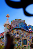 Casa Batllo in Barcelona. A view of some of the detailed artwork at the top of Casa Batllo, a famous building in Barcelona, Spain, restored by designer Antonio stock images