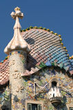 Casa Batllo - Barcelona. Casa Batllo is part of Manazana de la Discordia, 'Block of Discord', in Barcelona. Antoni Gaudi's artistic roof top respresenting st Stock Photo