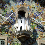 Casa Batllo - Barcelona. Casa Batllo is part of Manazana de la Discordia, 'Block of Discord', in Barcelona. Close up of Antoni Gaudi's artistic balcony and scaly Royalty Free Stock Images