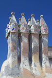 Casa Batllo in Barcelona Chimneys on the roof. Royalty Free Stock Photography
