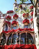 Casa Batllo Barcelona Gaudi, roses stock image