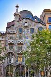Casa Batllo - Barcelona. Casa Batllo is part of Manazana de la Discordia, Block of Discord, in Barcelona. Antoni Gaudis artistic roof top respresenting st george royalty free stock photo