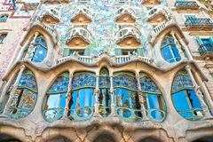 Casa Batllo, Barcelona, Spain. BARCELONA - DECEMBER 16: The facade of the house Casa Battlo (also could the house of bones) designed by Antoni Gaudi­ with royalty free stock image