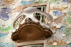 Casa Batllo Barcelona. Barcelona, Spain-May 27, 2013 Exterior detail of the architecture of Casa Batllo a renowned building located in the center of Barcelona Stock Photos