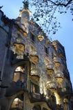 Casa Batllo at dusk. Casa Battlo building exterior at dusk royalty free stock photos