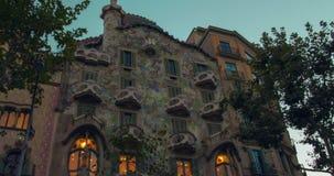 Casa Batllo exterior at sunset. Timelapse House of bones build by Antoni Gaudi. BARCELONA, SPAIN - JUNE 3, 2016: Casa Batllo exterior at sunset. Casa Batllo stock video footage