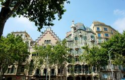 Casa Batllo, Gaudi`s expiated, in Barcelona. royalty free stock photos