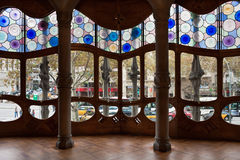 Casa Batllo interior.Decorated windows. Antonio Ga Stock Photo
