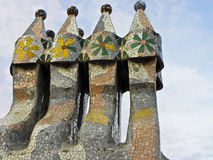 Casa Batllo roof. With beautiful tiles Stock Photo