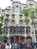 Casa Batllo. It's a design of Antonio Gaudi. You can find it in the center of Barcelona stock photo