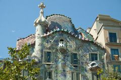 Casa Batllo. Was built by Antoni Gaudi between 1904 and 1906. Was commissioned by the textile industrialist Josep Batllo. The facade is a landmark in the city stock photos