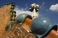 Casa Batlo 5. Artistic dragon shaped roof of Casa Batlo stock photo