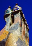Casa Batlo - Gaudi. Colorful porcelain chimneys on the roof of Casa Batlo - Barcelona, Spain Royalty Free Stock Image