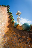 Casa Batlo rooftop. Barcelona, Spain, Casa Batlo rooftop details, chimney designed by Antonio Gaudi stock images