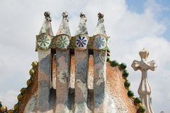 Casa Batlo rooftop. Barcelona, Spain, Casa Batlo rooftop details, chimney designed by Antonio Gaudi stock photos