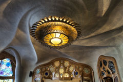 Casa Batlo świecznik i sufit Fotografia Royalty Free