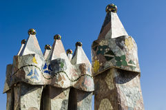 Casa Battlo - Details. Mosaic detail of Casa Battlo, built by Antoni Gaudi, in Barcelona, Spain Stock Images