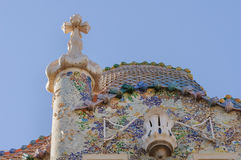 Casa Battlo facade and chimney by Antony Gaudi Royalty Free Stock Photography