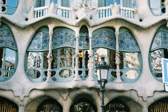 Casa battlo of Gaudi. Windows of Casa Batllo(Gaudi) by day(Barcelona,Spain royalty free stock photos