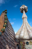 Casa Battlo - roof detail. Dragon form roof detail of Casa Batllo by Antoni Gaudi - Barcelona, Spain stock photos