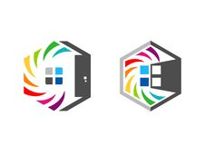 A casa, bens imobiliários, hexágono, casa, logotipo, grupo de arco-íris colorize o projeto do vetor do ícone do símbolo da constr Fotos de Stock Royalty Free