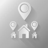 Casa bianca con un segno di spunta su un fondo grigio, Immagini Stock