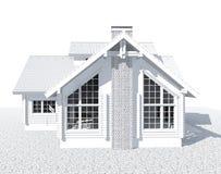 casa bianca del modello di architettura 3D Immagini Stock