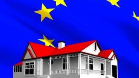 Casa blanca con la bandera europea que agita en el fondo ilustración del vector