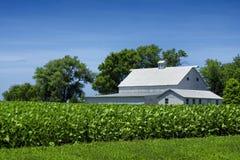 Casa blanca de la granja por el campo Fotografía de archivo