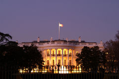 Casa blanca de los E.E.U.U. horizontal en la Navidad Imágenes de archivo libres de regalías