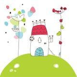 Casa blanca en la colina - dibujo ilustración del vector