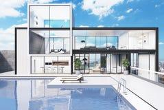 Casa blanca grande con una piscina ilustración del vector