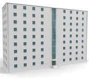 casa blanca llana 9 con las ventanas azules Foto de archivo libre de regalías