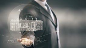 Casa Blanca Washington Businessman que lleva a cabo nuevas tecnologías de la señal disponible stock de ilustración
