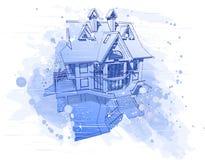 Casa blu dell'acquerello illustrazione vettoriale