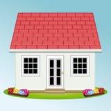 Casa bonita com jardim propriedade Casas dos bens imobiliários?, planos para a venda ou para o aluguel ilustração stock