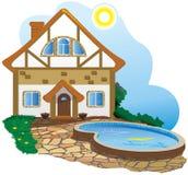 Casa bonita com uma piscina ilustração stock