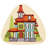 Casa bonito do estilo dos desenhos animados, Imagens de Stock Royalty Free