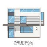 A casa branca moderna, bens imobiliários assina dentro o estilo liso Ilustração do vetor Fotografia de Stock