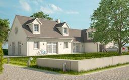Casa branca nos subúrbios ilustração royalty free