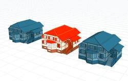 A casa brilhante, valor entre casas idênticas imagens de stock royalty free