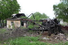 Casa bruciata Fotografie Stock