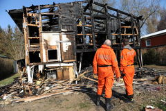 Casa bruciata Immagine Stock