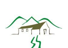 Casa cerca de las montañas ilustración del vector
