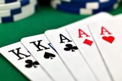 Casa cheia e microplaquetas de póquer Imagem de Stock