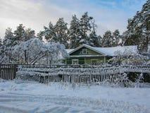casa coberto de neve em um pinho da vila Foto de Stock Royalty Free