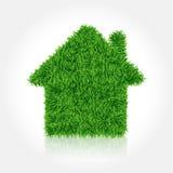 A casa cobriu a grama verde Engrena o ícone Imagens de Stock Royalty Free