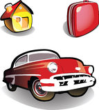 Casa, coche, maleta - iconos Fotos de archivo libres de regalías
